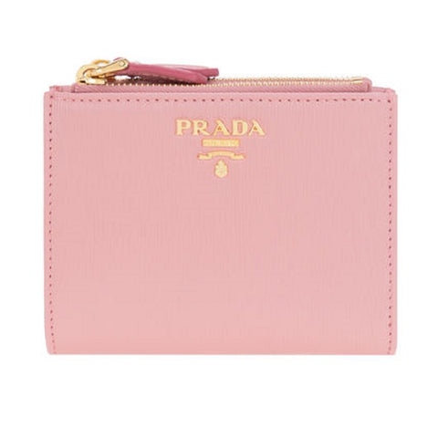 Prada Womens Pink Peonia Bifold Vitello Move Leather Snap Zip Wallet 1ML024 at_Queen_Bee_of_Beverly_Hills