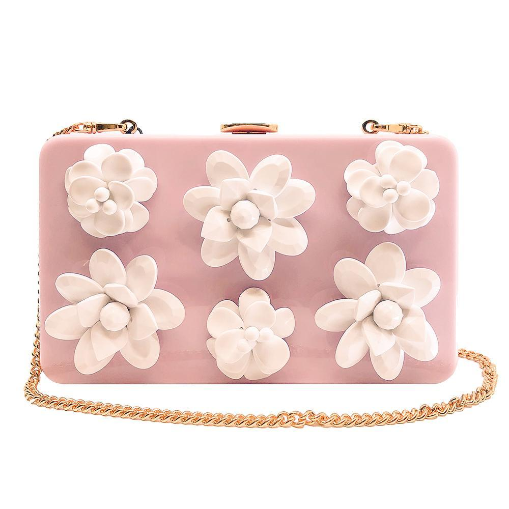Prada Womens Pink Plexiglas Decorative White Flowers Clutch W/ Chain 1BF032 at_Queen_Bee_of_Beverly_Hills