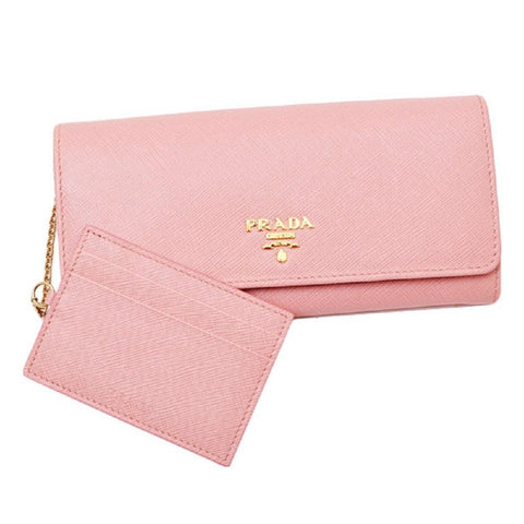 Prada Womens Pink Saffiano Leather Metal Snap Continental Wallet 1MH132 at_Queen_Bee_of_Beverly_Hills