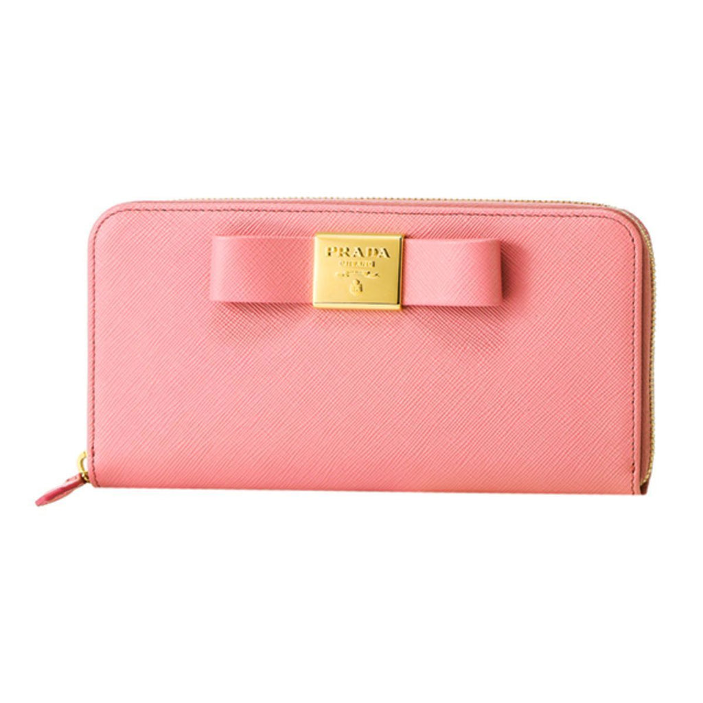 Prada Womens Pink Saffiano Leather Zip Around Continental Bow Wallet 1ML506 at_Queen_Bee_of_Beverly_Hills