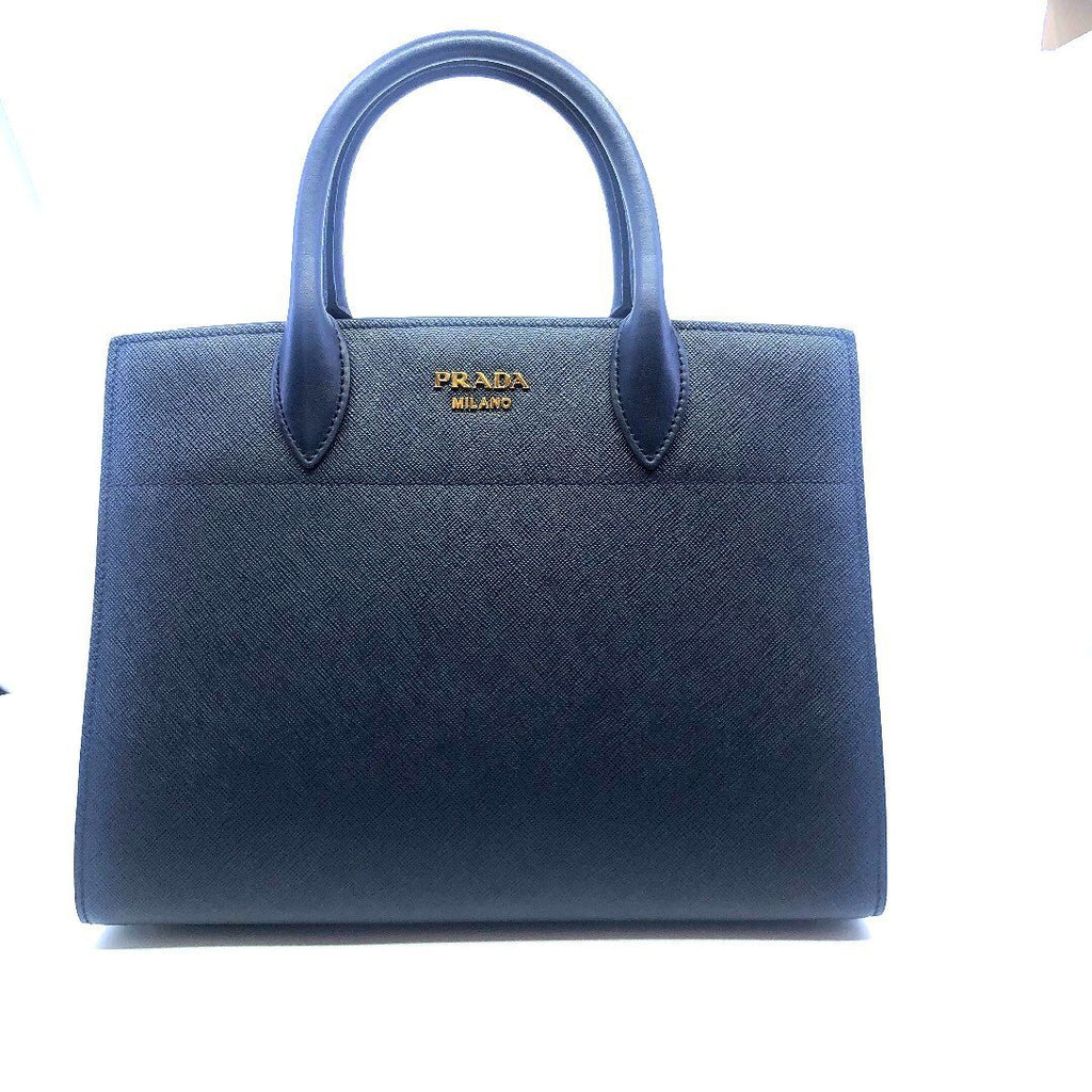 Prada Womens Saffiano Leather, City Baltico, Navy and White Handbag Bibliotec 1BA049 at_Queen_Bee_of_Beverly_Hills
