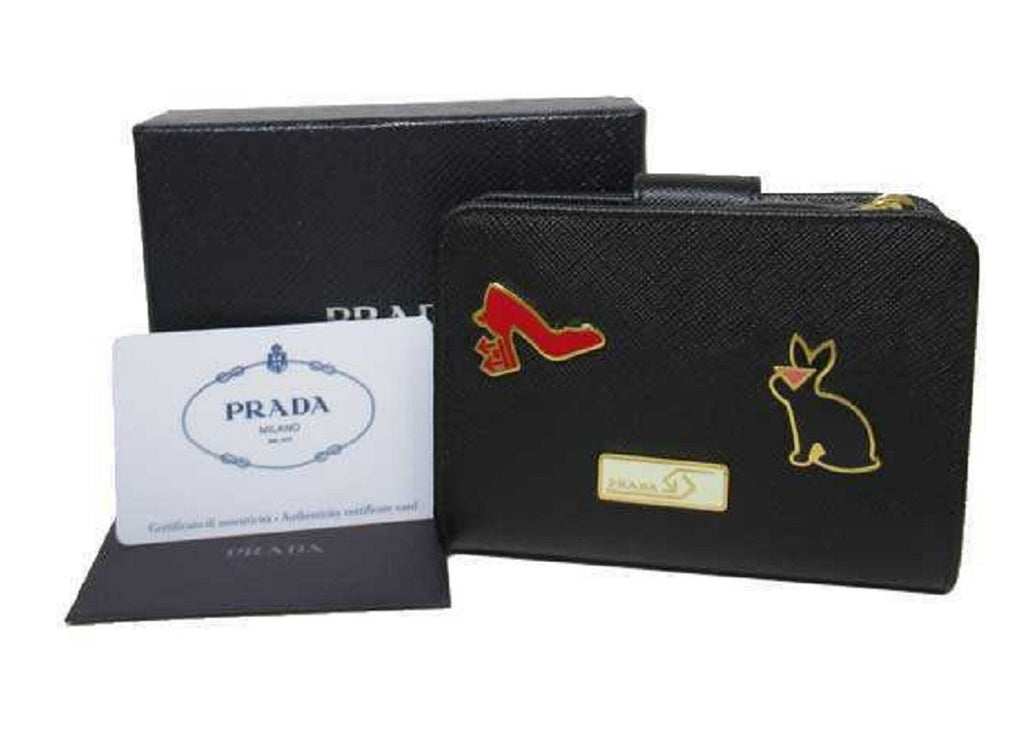 Prada Womens Saffiano Leather Nero Fuoco Black Snap Zip Around Wallet 1ML018 at_Queen_Bee_of_Beverly_Hills
