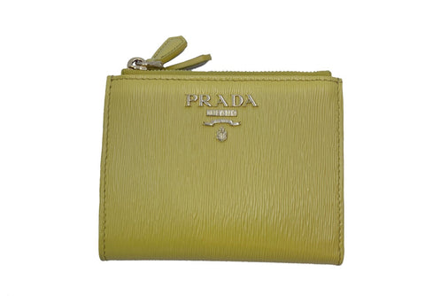 Prada Womens Sole Yellow Bifold Vitello Move Leather Snap Zip Wallet 1ML024 at_Queen_Bee_of_Beverly_Hills