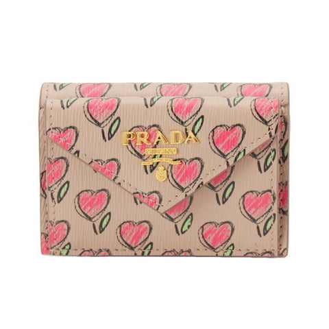 Prada Womens Tan Love Hearts Vitello Move Leather Envelope Snap Wallet 1MH021 at_Queen_Bee_of_Beverly_Hills