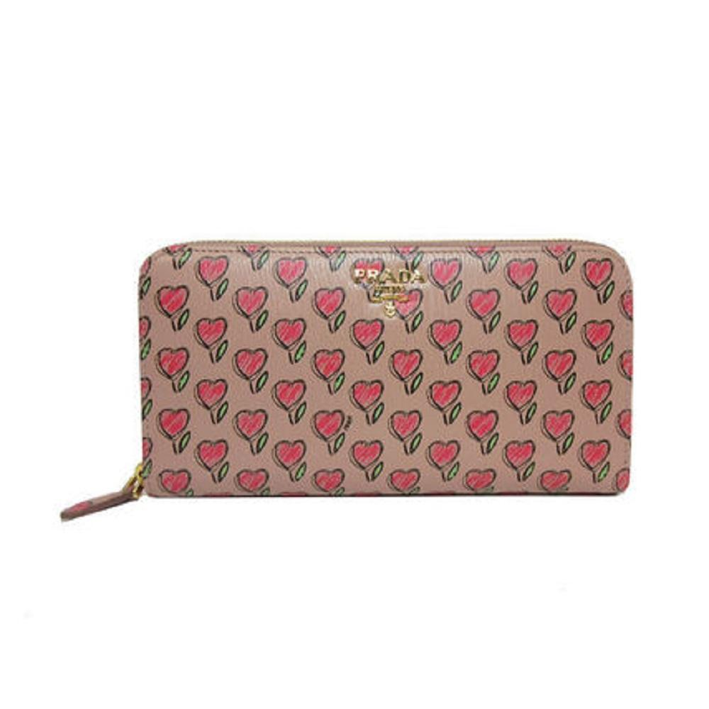 Prada Womens Tan Vitello Move Love Hearts Leather Continental Zip Wallet 1ML506 at_Queen_Bee_of_Beverly_Hills