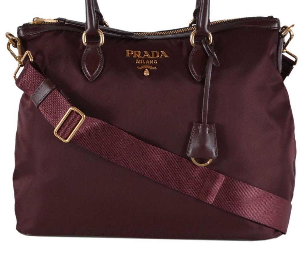 Prada Womens Two Way Burgundy Red Tessuto Nylon Tote Crossbody Leather Trim 1BC060 at_Queen_Bee_of_Beverly_Hills