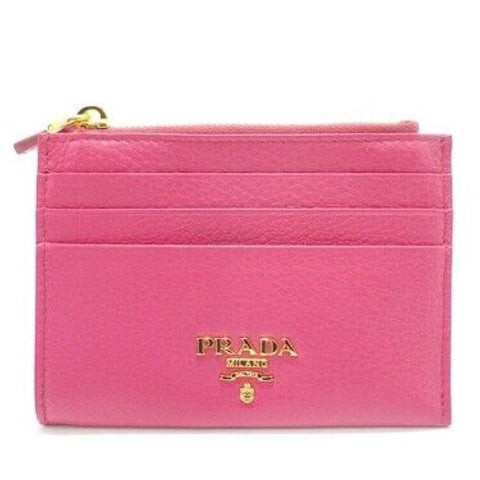 Prada Womens Vitello Grain Peonia Pink Leather Gold Logo Zip Top Card Case 1MC026 at_Queen_Bee_of_Beverly_Hills