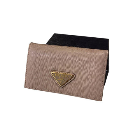 Prada Womens Vitello Move Cipria Beige Leather Card Case Wallet Triangle Logo 1MC122 at_Queen_Bee_of_Beverly_Hills