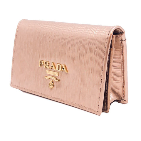 Prada Womens Vitello Move Metallic Gold Leather Card Case Wallet 1MC122 at_Queen_Bee_of_Beverly_Hills