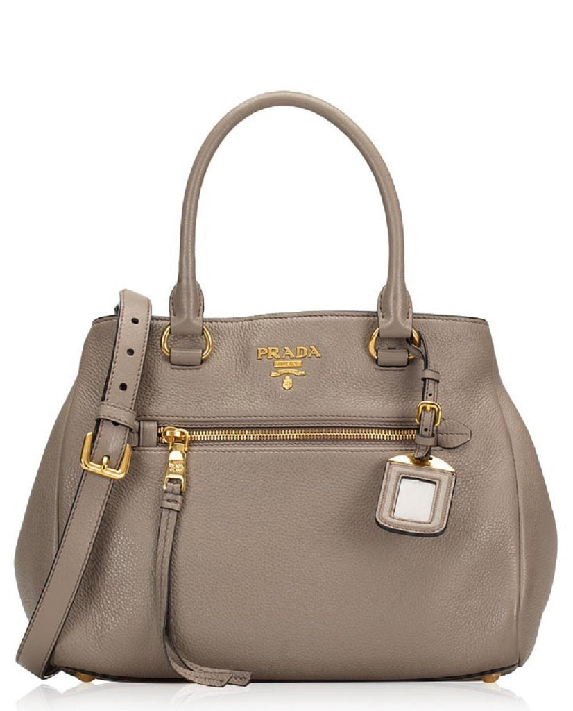 Prada Womens Vitello Phenix Argilla Gray Leather Satchel Handbag 1BB044 at_Queen_Bee_of_Beverly_Hills