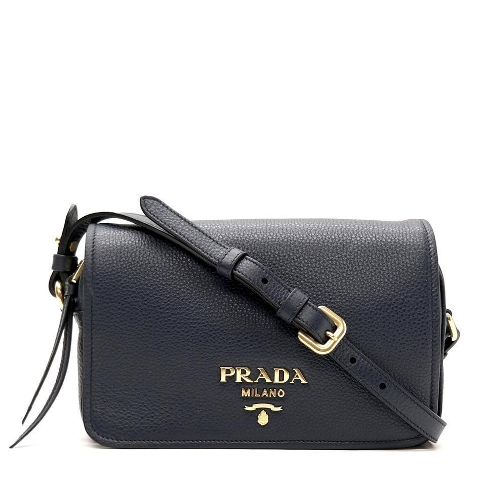 Prada Womens Vitello Phenix Shoulder Flap Navy Blue Leather Crossbody Bag 1BD163 at_Queen_Bee_of_Beverly_Hills
