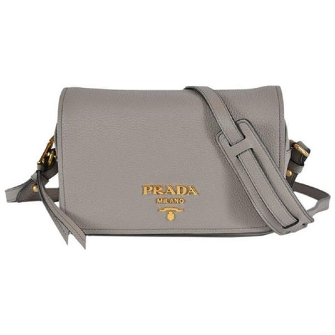 Prada Womens Vitello Phenix Shoulder Flop Grey Leather Crossbody Bag 1BD163 at_Queen_Bee_of_Beverly_Hills