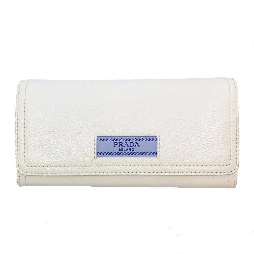 Prada Womens White Glace Calf City Pebbled Leather ID Tag Long Snap Wallet at_Queen_Bee_of_Beverly_Hills