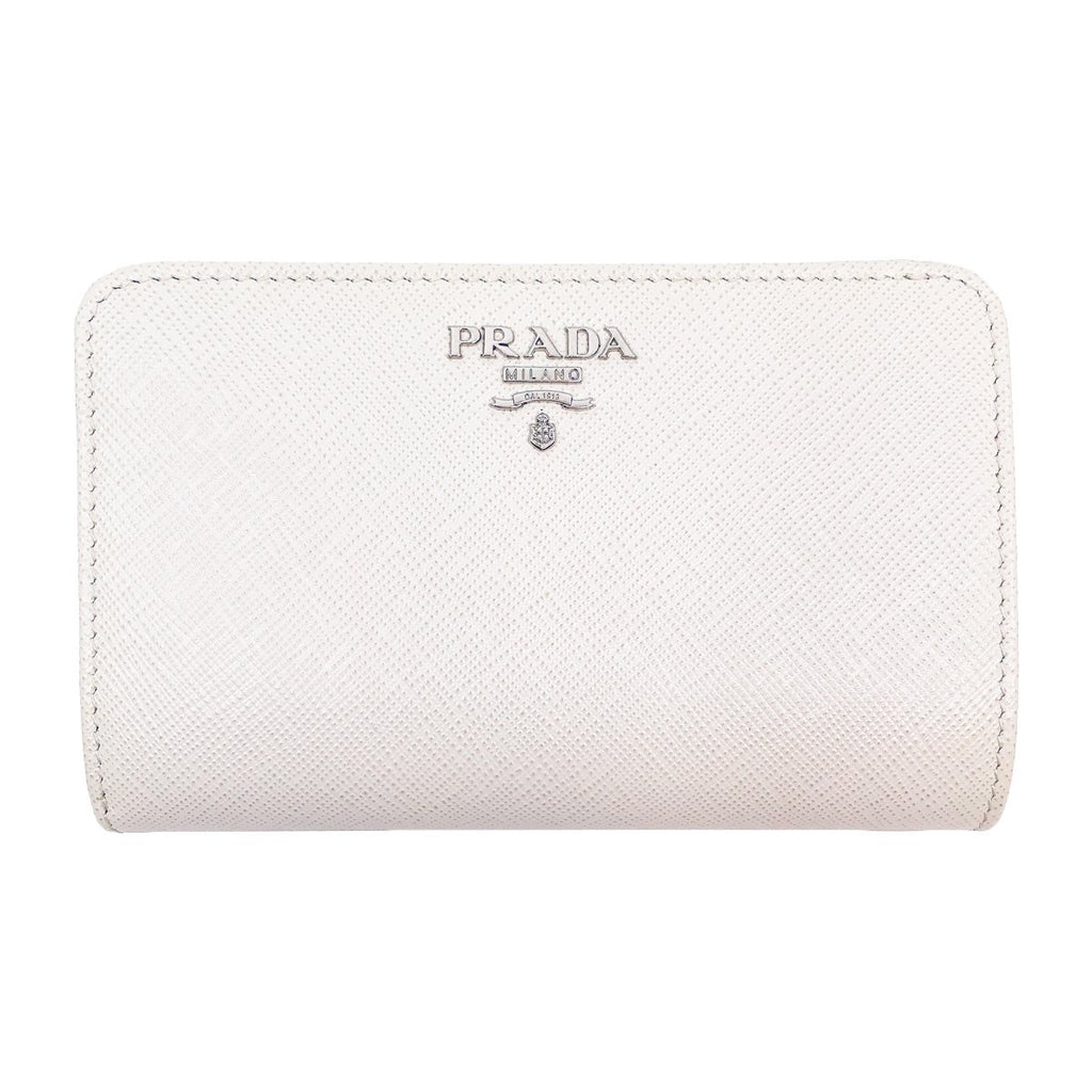 Prada Womens White Leather Zip Black Interior Saffiano Wallet 1ML225 at_Queen_Bee_of_Beverly_Hills