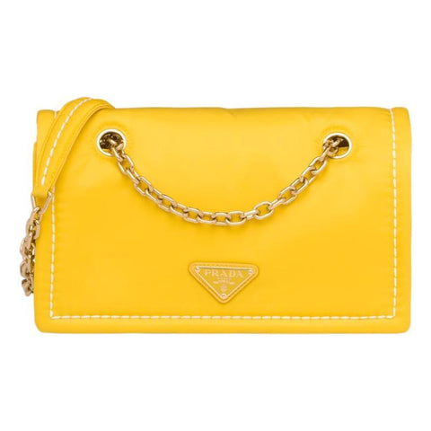 Prada Yellow Tessuto Nylon Chain Flap Bag 1BD199 at_Queen_Bee_of_Beverly_Hills