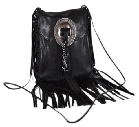 Saint Laurent Anita Ysl Flat Purse Fringed Black Leather Cross Body Bag 395012 at_Queen_Bee_of_Beverly_Hills