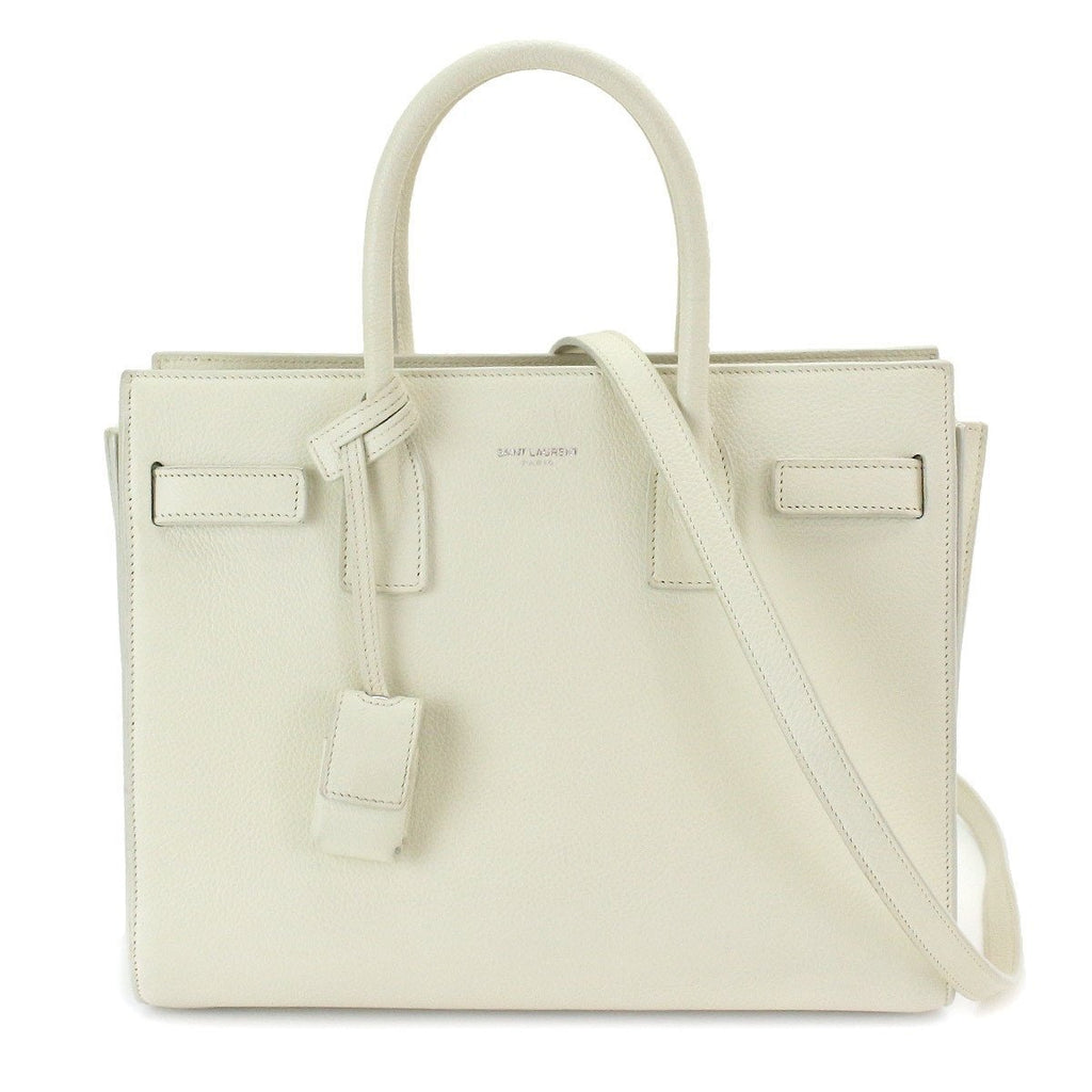 Saint Laurent Baby Sac de Jour White Grained Leather Bag 398710 at_Queen_Bee_of_Beverly_Hills