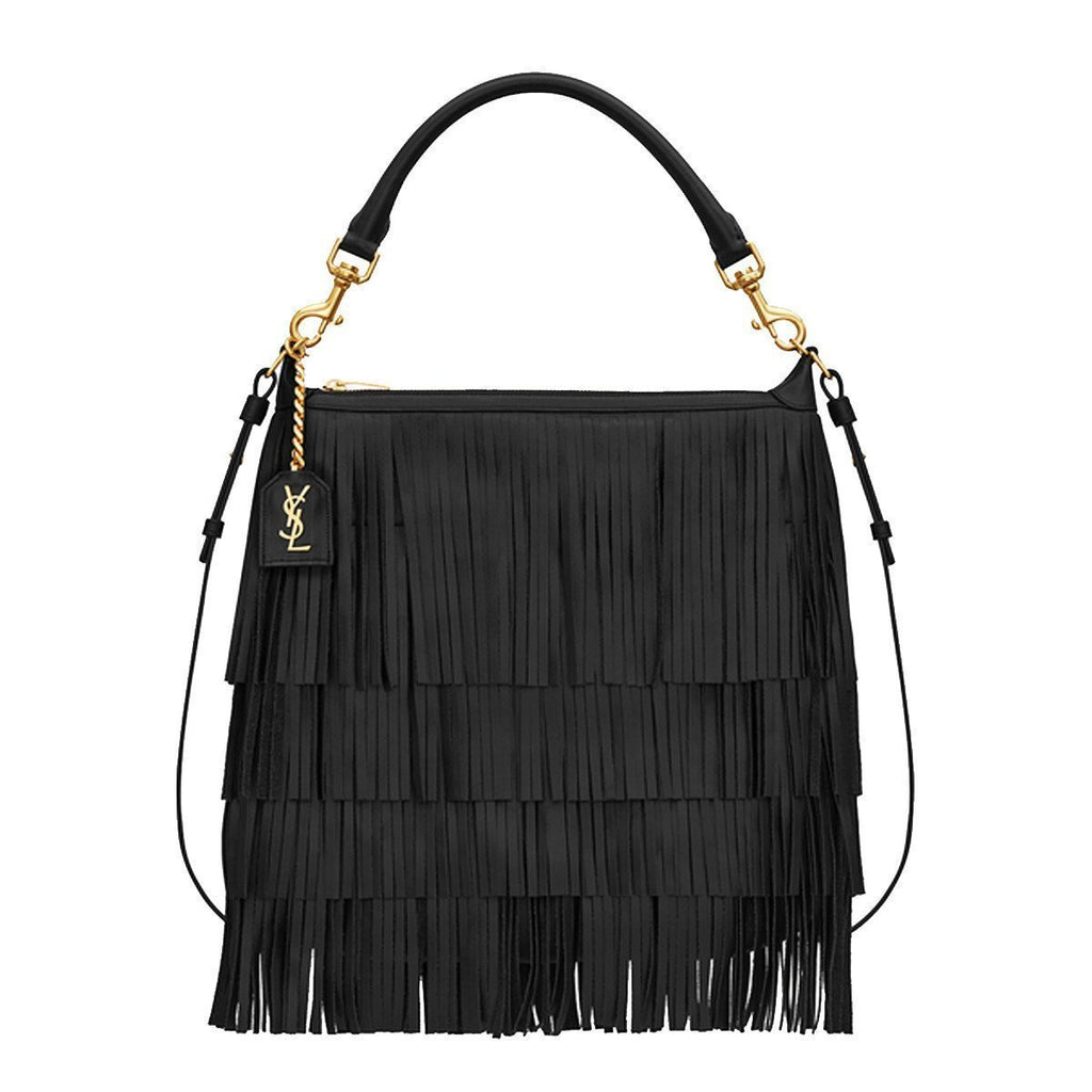 Saint Laurent Black 'Emmanuelle' Small Leather Fringe Hobo Bag 410565 at_Queen_Bee_of_Beverly_Hills