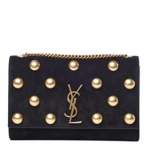 Saint Laurent Black Suede Monogramme Gold Stud Chain Shoulder Bag 364051 at_Queen_Bee_of_Beverly_Hills