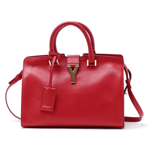 Saint Laurent Classic Red Cabas Y Top Handle Shoulder Bag Medium 311210 at_Queen_Bee_of_Beverly_Hills