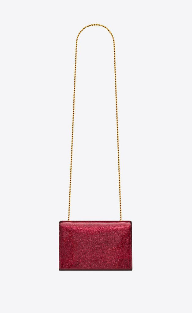Saint Laurent Fuxia Monogramme Kate Chain Wallet bag in Glitter Patent Leather Shoulder Bag 469390 at_Queen_Bee_of_Beverly_Hills