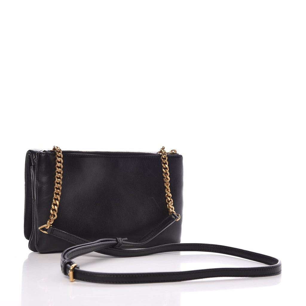 Saint Laurent Jamie Chain Wallet Carre Rive Gauche Black Lambskin Leather 517614 at_Queen_Bee_of_Beverly_Hills