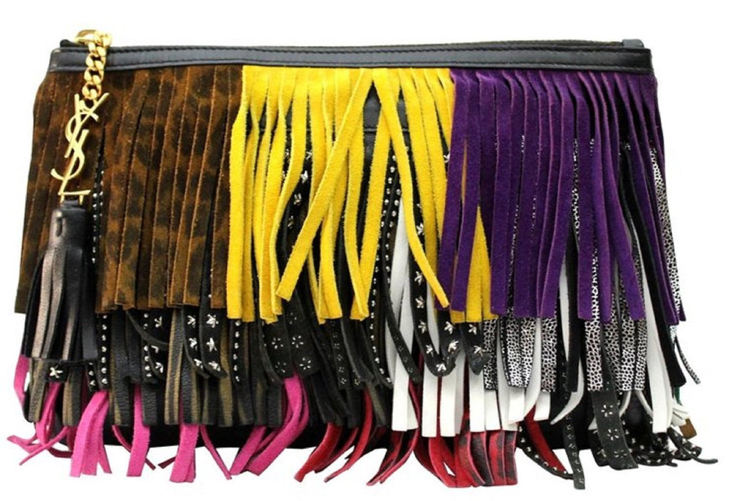 Saint Laurent Joulie Pouch Multicolor Leather Tassel Fringes 403418 CWU21 at_Queen_Bee_of_Beverly_Hills