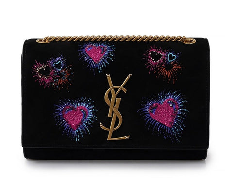 Saint Laurent Kate Black Suede Monogramme Embroidered Hearts Fireworks 471286 at_Queen_Bee_of_Beverly_Hills