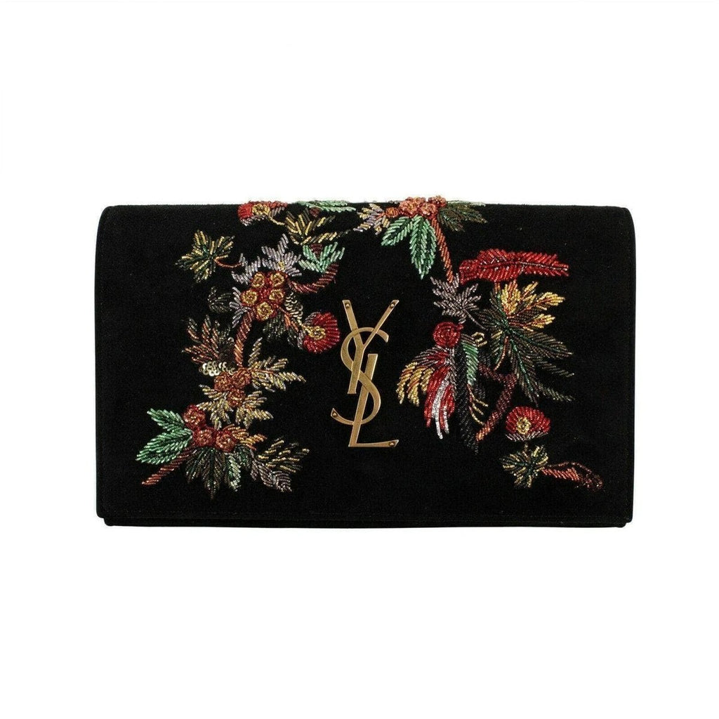Saint Laurent Kate Black Suede Monogramme Embroidered Parrots 471286 at_Queen_Bee_of_Beverly_Hills