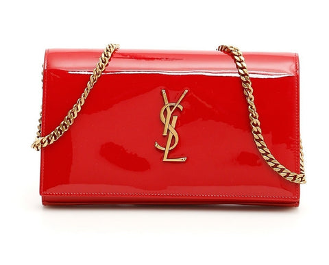 Saint Laurent Kate Monogram Chain Red Patent Leather Crossbody 377829 at_Queen_Bee_of_Beverly_Hills