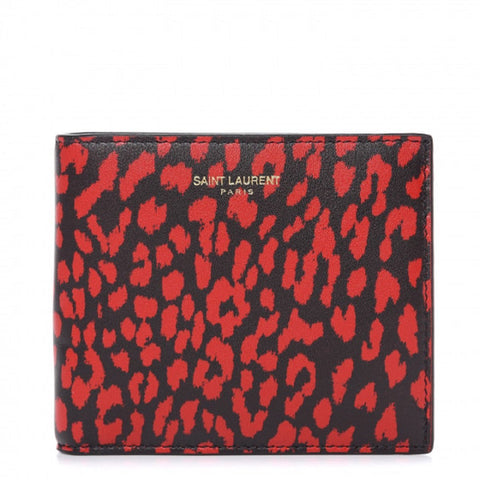 Saint Laurent Mens Babycat Bifold Wallet Calf Red Black Boxeur 315865 at_Queen_Bee_of_Beverly_Hills