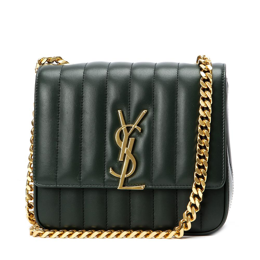 Saint Laurent Monogram Vicky Medium Green Matelasse Leather 532612 at_Queen_Bee_of_Beverly_Hills