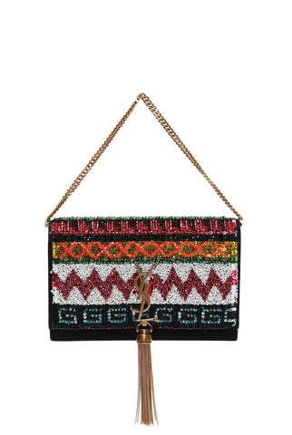 Saint Laurent Multi Coloured Embroidered Decorative Sequins Kate Tassel Shoulder Bag 455263 at_Queen_Bee_of_Beverly_Hills