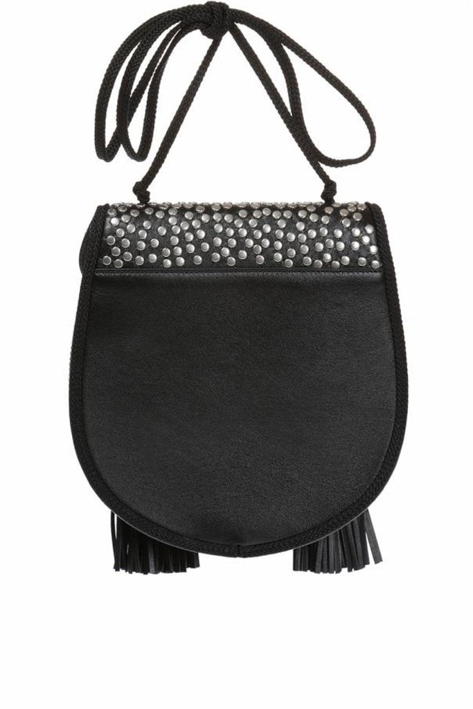 Saint Laurent Opium 2 St Lunas Nappa Black Leather Silver Stud Tassel Bag 441703 at_Queen_Bee_of_Beverly_Hills