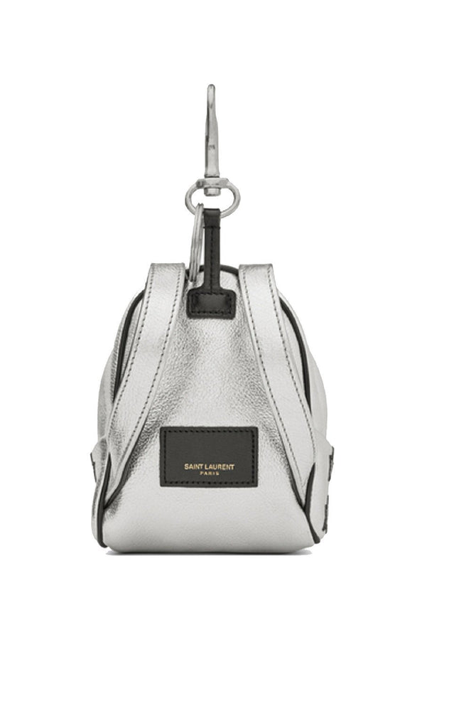Saint Laurent Silver/Black Unisex Zip Backpack Key Chain Black Stars 441914 at_Queen_Bee_of_Beverly_Hills