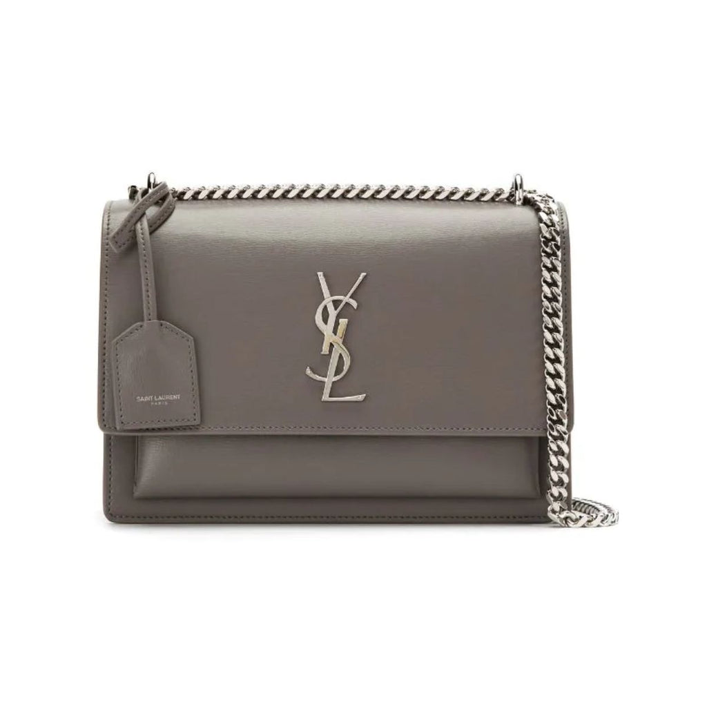 Saint Laurent Sunset Small Handbag Grey Leather 452157 at_Queen_Bee_of_Beverly_Hills