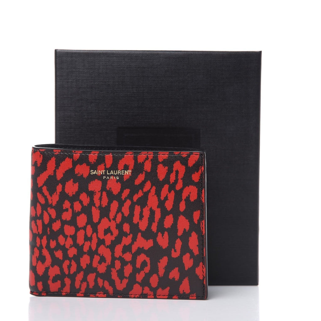 Saint Laurent Unisex Babycat Bifold Wallet Calf Red Black Boxeur 315865 at_Queen_Bee_of_Beverly_Hills