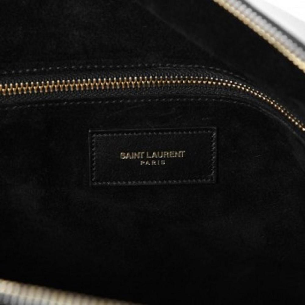 Saint Laurent Women's 12 Hour Duffel Bag Two Tone Calfskin Leather 322050 at_Queen_Bee_of_Beverly_Hills