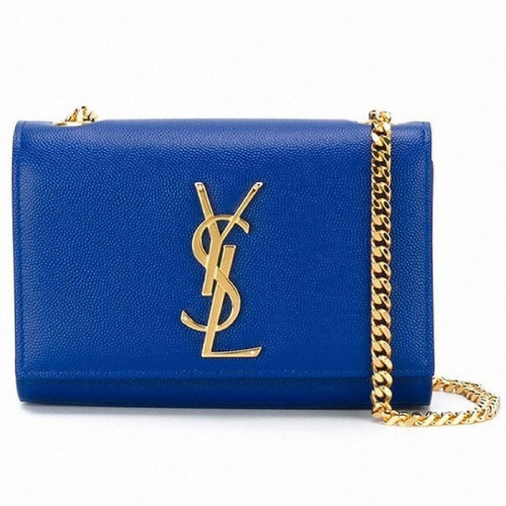 Saint Laurent Women's Blue Leather YSL Small Kate Monogram CrossBody  354121 at_Queen_Bee_of_Beverly_Hills