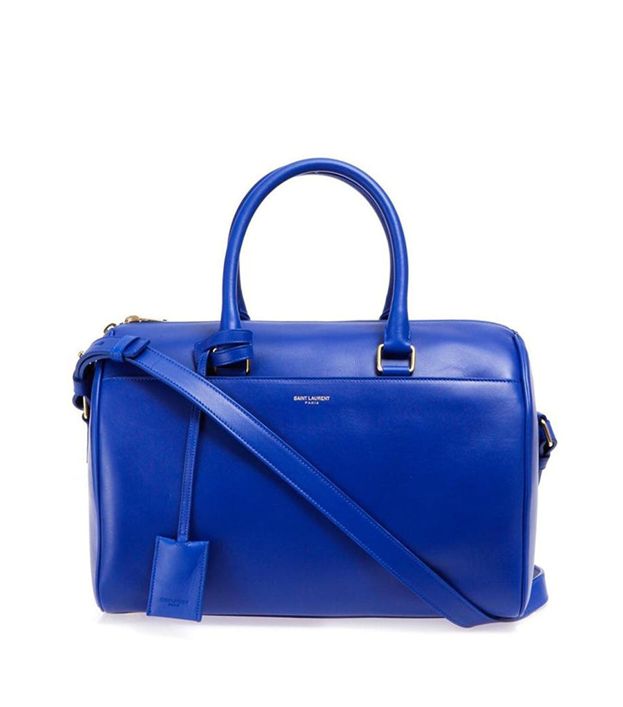 Saint Laurent Women's Classic 6 Duffle Bag Bright Blue Leather Satchel 314704 at_Queen_Bee_of_Beverly_Hills