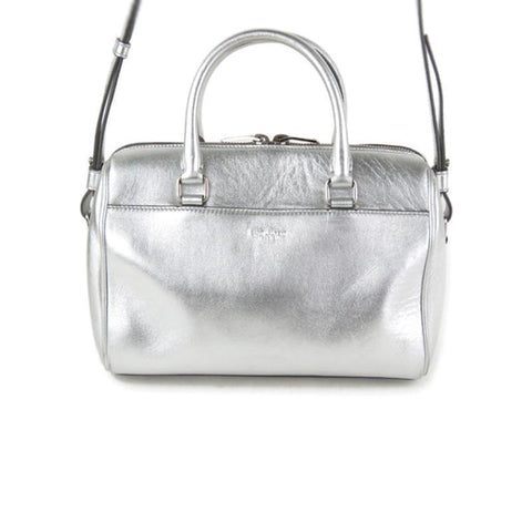 Saint Laurent Women's Classic Silver Metallic Leather Mini Duffle Shoulder Bag 330958 at_Queen_Bee_of_Beverly_Hills