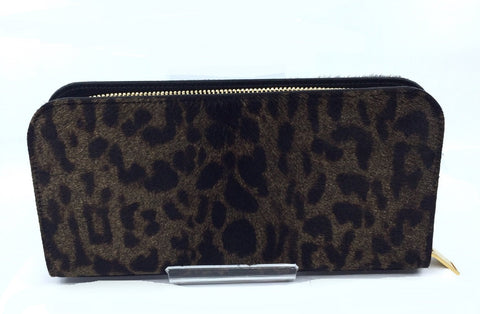 Saint Laurent Women's Leopard Print Nappa Full Zip Wallet Pony Hair 326599 at_Queen_Bee_of_Beverly_Hills