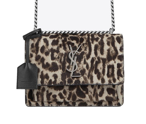Saint Laurent Women's Sunset leopard Print Handbag Cowhide/Black Leather  441972 at_Queen_Bee_of_Beverly_Hills