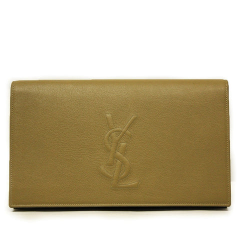 Saint Laurent Women's YSL Belle de Jour Beige Leather Clutch Bag 361120 at_Queen_Bee_of_Beverly_Hills