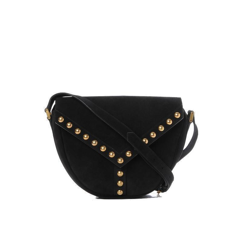 Saint Laurent Y Studded Black Besace Saddle Crossbody Shoulder Handbag 439143 at_Queen_Bee_of_Beverly_Hills