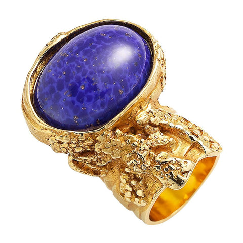 Saint Laurent YSL Arty Ovale Oval Large Lapis Ring Gold Size: 6 196994 at_Queen_Bee_of_Beverly_Hills