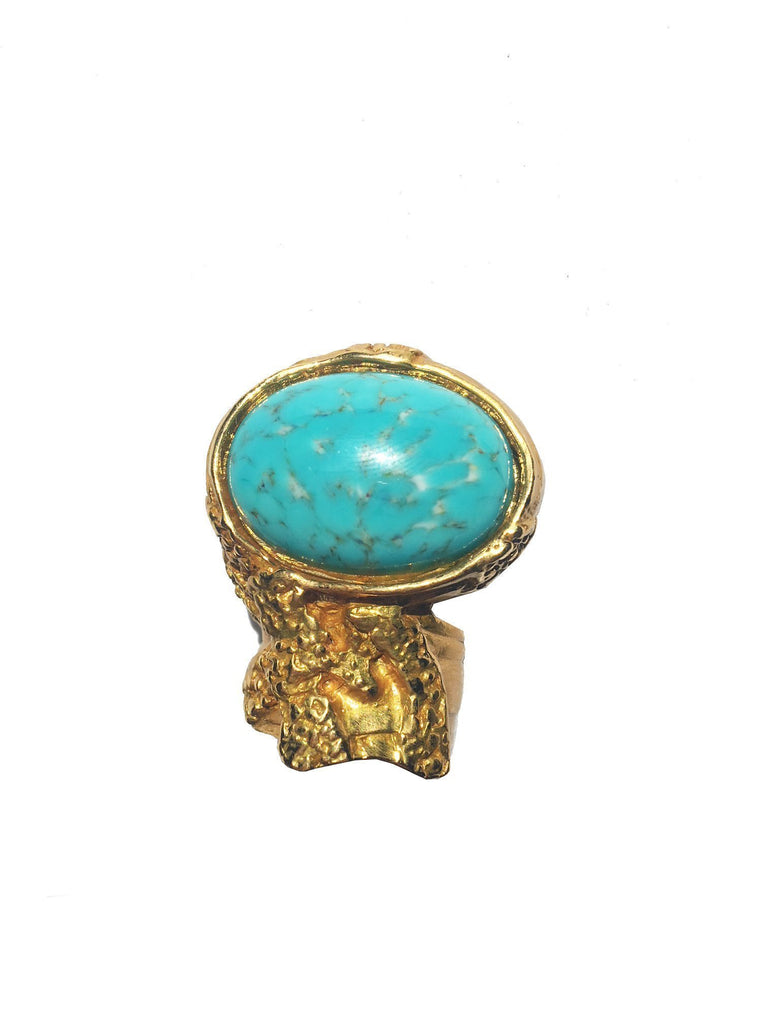 Saint Laurent YSL Arty Ovale Oval Turquoise Large Gold Ring 196994 Size: 7 at_Queen_Bee_of_Beverly_Hills