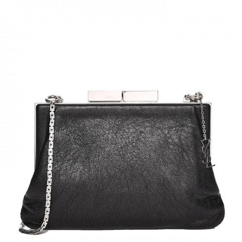 Saint Laurent YSL Bag Bijoux Slouch Black Leather Metal Chain Pouch Handbag 424334 at_Queen_Bee_of_Beverly_Hills