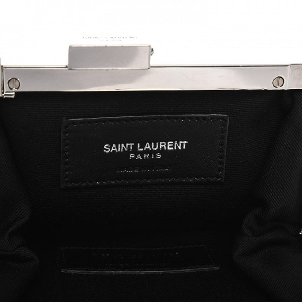 Saint Laurent YSL Bag Bijoux Slouch Black Leather Metal Chain Pouch Handbag at_Queen_Bee_of_Beverly_Hills