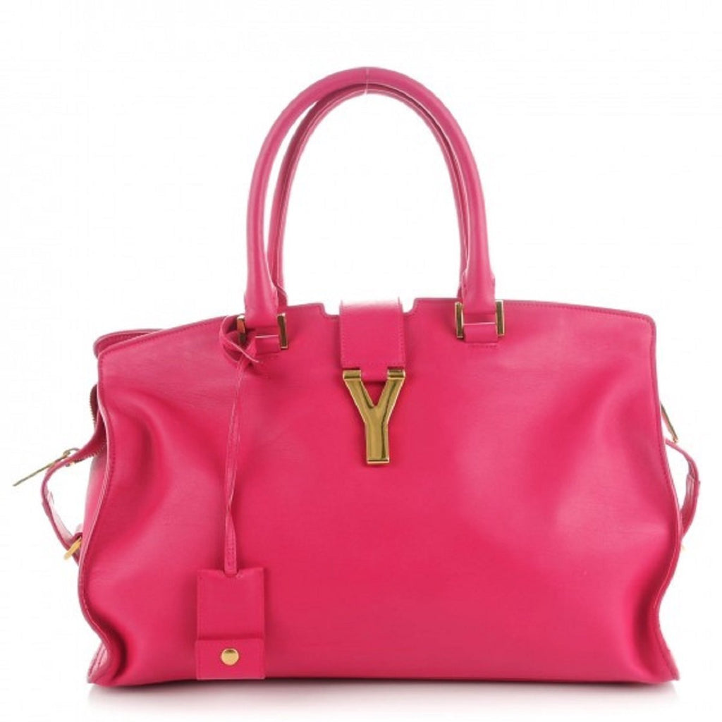 Saint Laurent YSL Bag Ligne Y Macho Fushia Pink Satchel Handbag 311208 at_Queen_Bee_of_Beverly_Hills